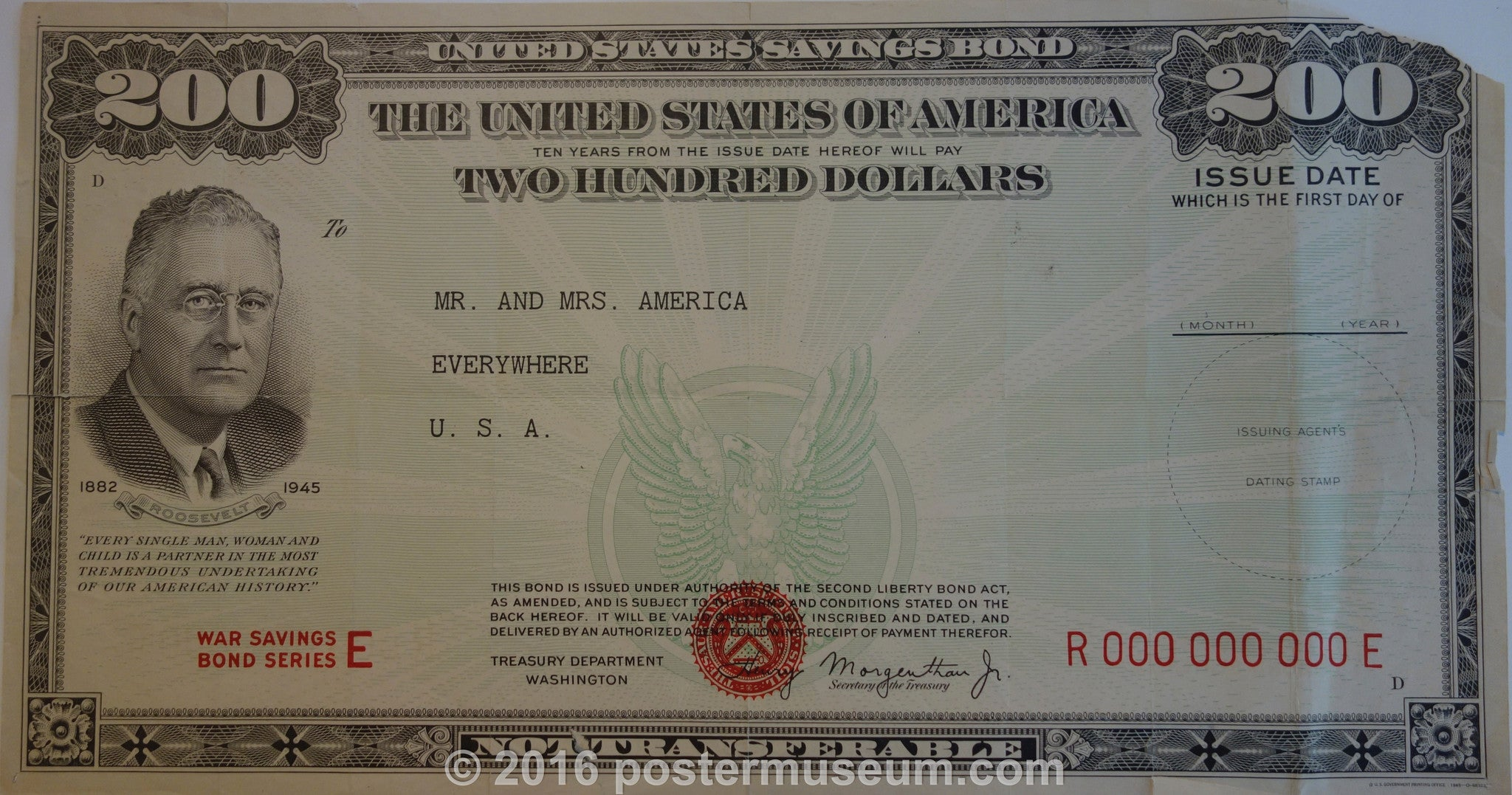 FDR Two-Hundred Dollar United States Savings Bond