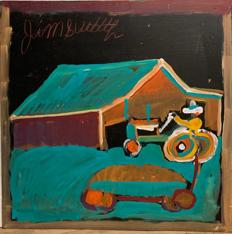 A painting of a farmer driving a tractor.