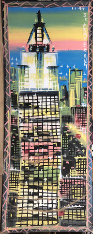 A Steve Keene painting of a skyscraper at sunset. Behind is a busy city with many apartment buildings.