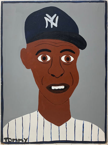 A Tommy Cheng portrait of Darryl Strawberry in a New York Yankees uniform.