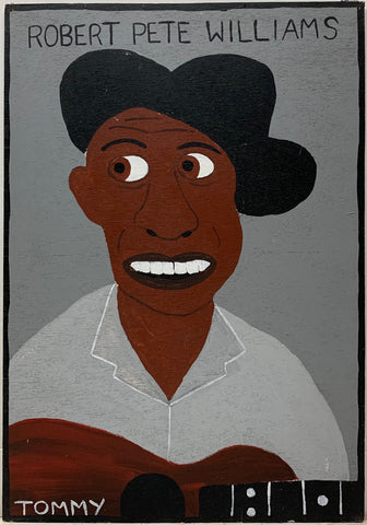 Tommy Cheng portrait of Robert Pete Williams wearing a black hat and playing a brown wooden guitar.