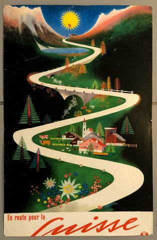 Poster featuring a cartoon Swiss town in the Alps, a winding white road dividing the image
