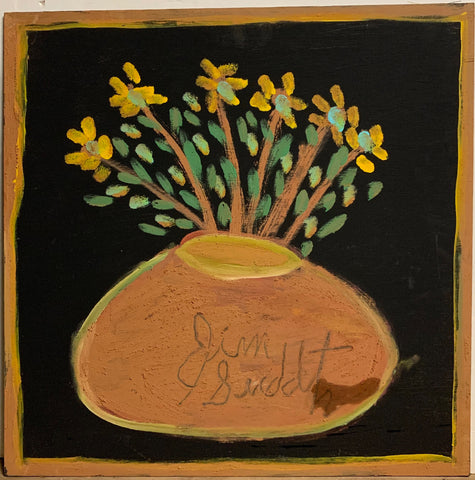 A painting of potted yellow flowers.
