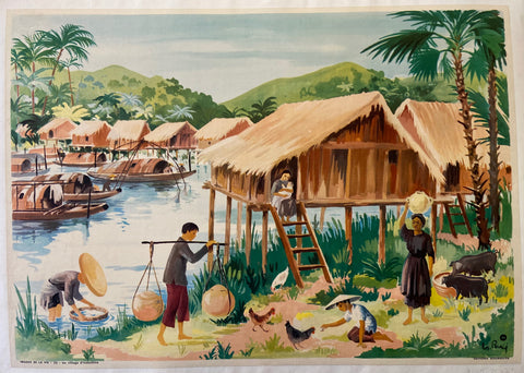 Images de la Vie, Une Village d'Indochine Print