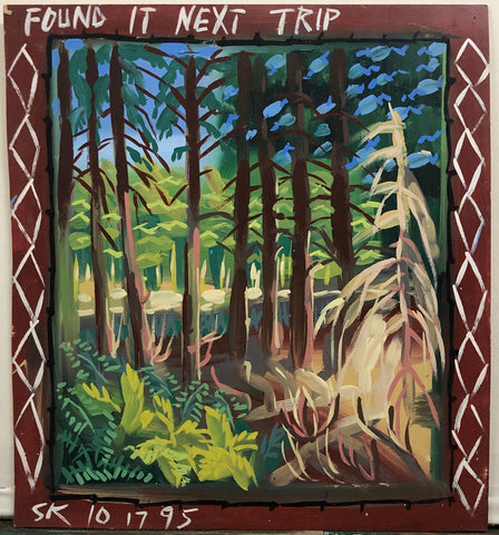 A Steve Keene painting of a forest of tall trees surrounded by bushes.