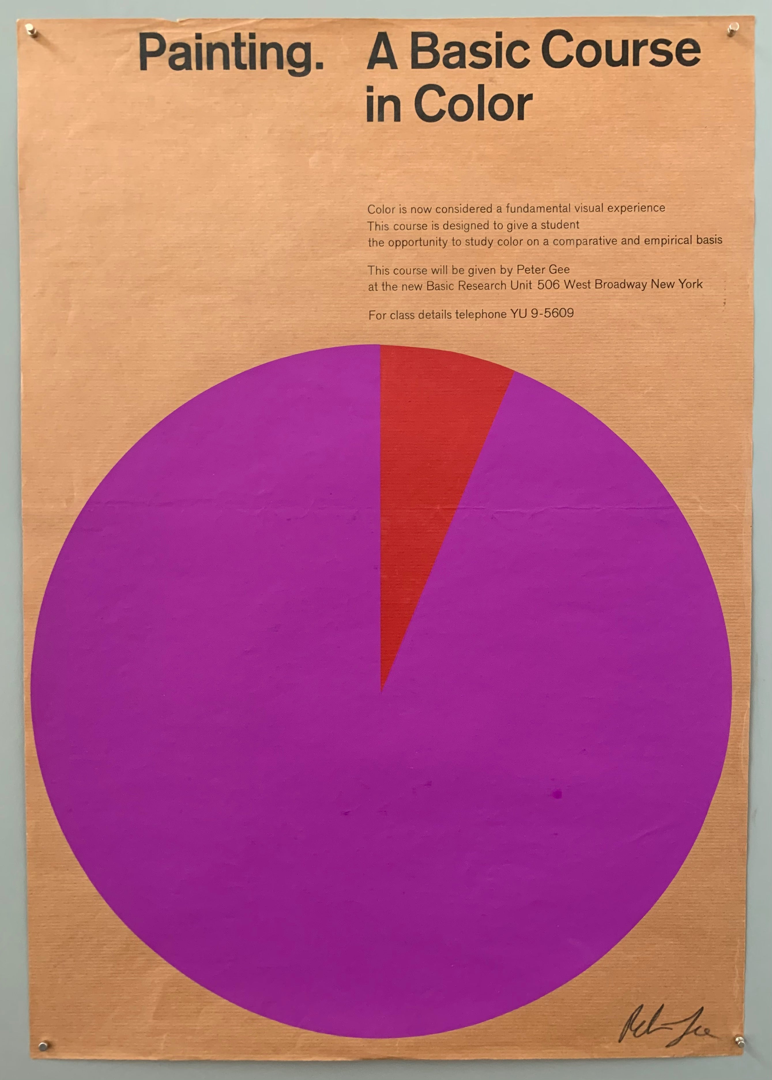 A large circle has a piece cut out of it in a different color. The font is at the top in black. The colors used are fuschia and red. It is on tan texture paper.