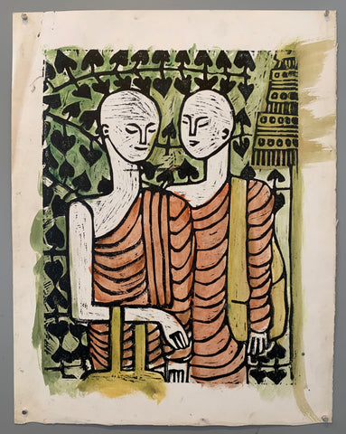 woodblock of two monks in red robes talking in front of a green wall of ivy