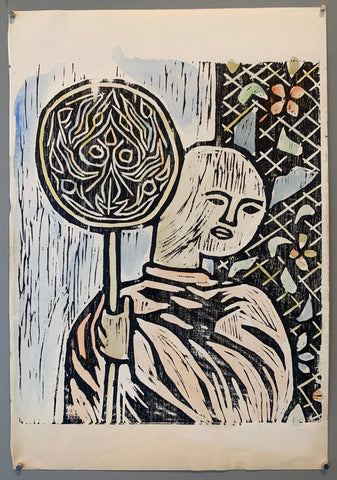 woodblock of a monk with a staff
