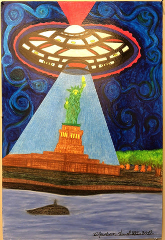 Ionel Talpazan - UFO lights up the Statue of Liberty