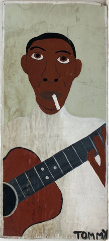 Tommy Cheng portrait of a musician with a cigarette and wooden guitar.