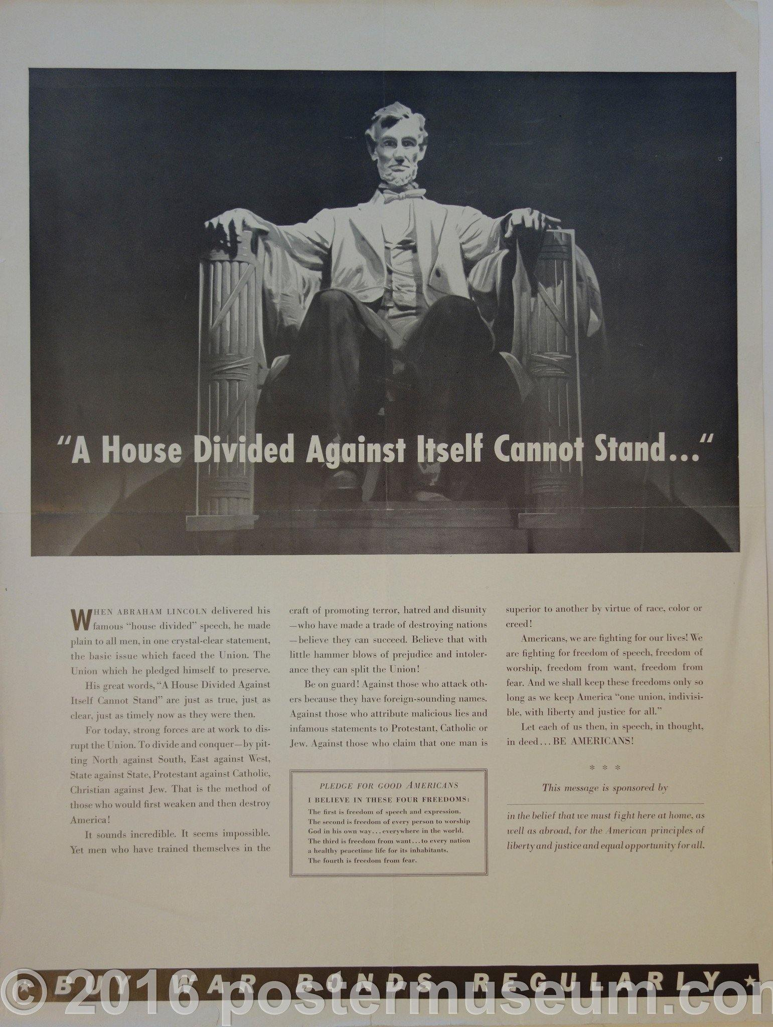 """A house divided against itself cannot stand..."" - Poster Museum"
