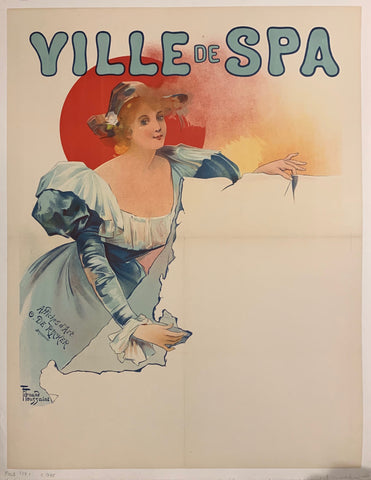 Turn of the Century poster of a woman in a blue dress holding an empty scroll.