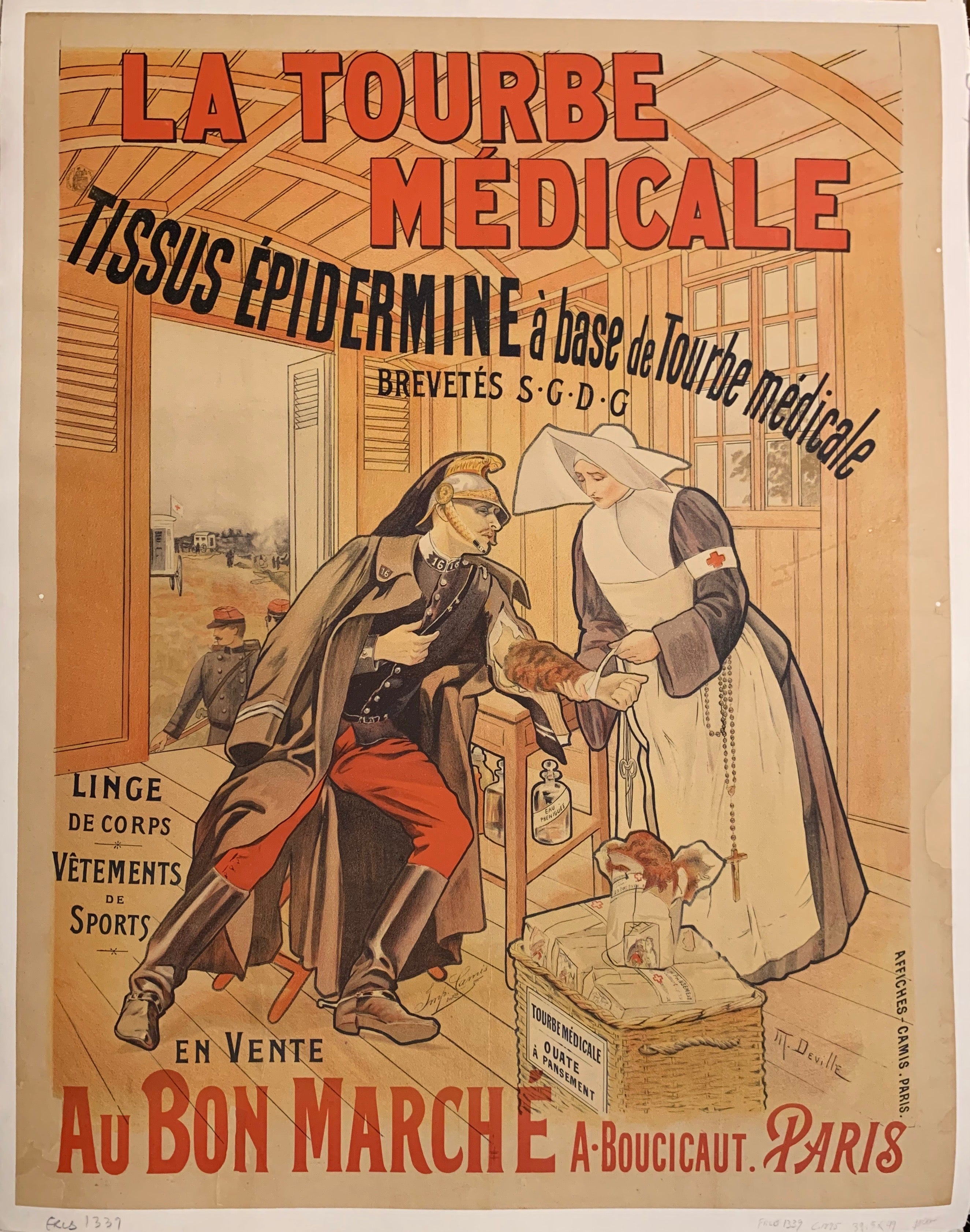 Turn of the Century poster of a nurse treating a soldier with an army injury.