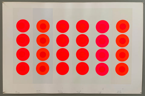 6 panels have 36 targets all lined up. The targets are orange, pink and reds in neon hues. The panels are all cream colored except for the second to left, which is a light light blue. The border is white.