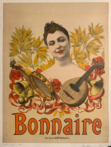 Turn of the Century poster of a brunette surrounded by instruments—a guitar, trumpet, tambourine, and bells.