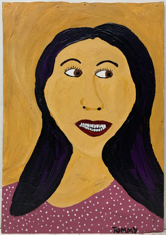 A Tommy  Cheng portrait of a black-haired woman in a purple shirt with white polka-dots.