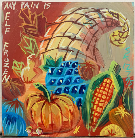 A Steve Keene painting of a Thanksgiving cornucopia with pumpkins, grapes, squash, and corn.