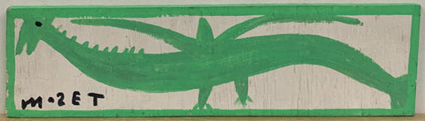 A Mose Tolliver painting of a spiky green bird.