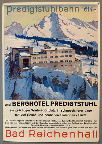 German travel poster advertising the second oldest, still running today, original large cabin cable car in the world. Located in Bad Reichenhall, cable car goes up to the Berghotel at the top. Poster shows the hotel with the alps in the background.