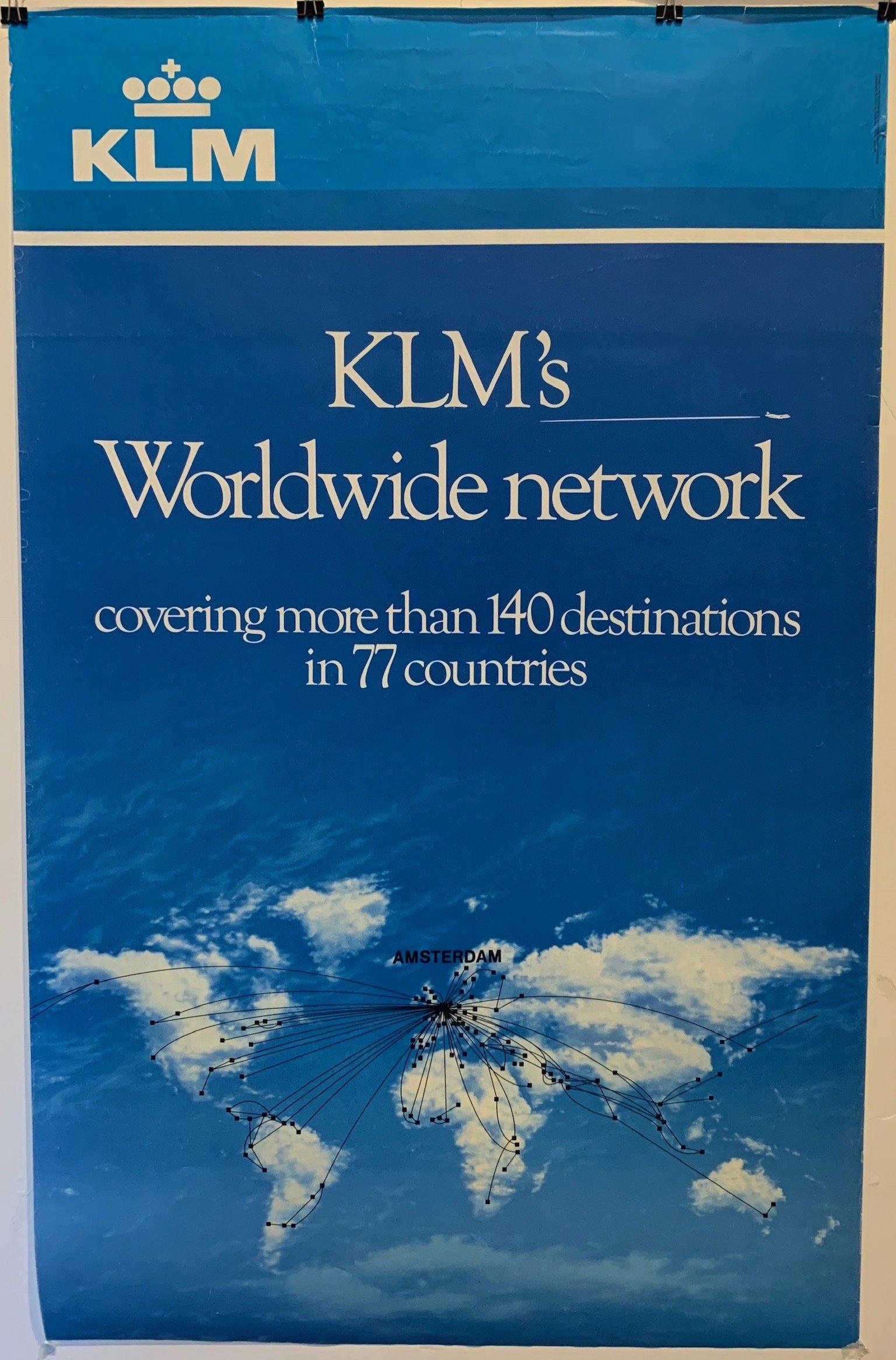 "KLM's Worldwide Network ""Covering more than 140 destinations in 77 countries"""