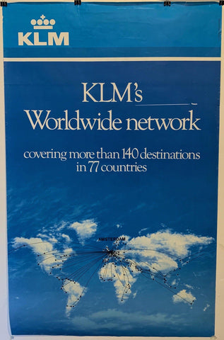 "KLM's Worldwide Network ""Covering more than 140 destinations in 77 countries"" - Poster Museum"