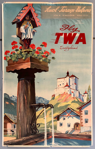 Poster of a Swiss town, a fountain with a miniature Jesus statue at the forefront