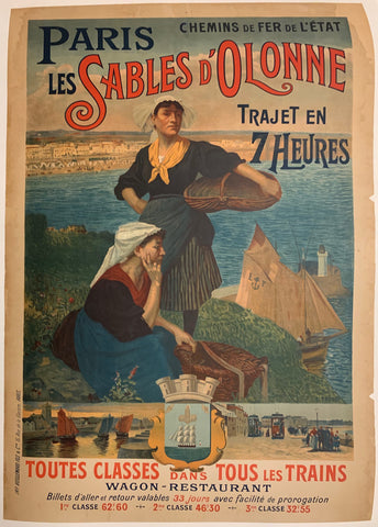 Turn of the Century poster of two working women standing on a grassy hill above a seaside town.