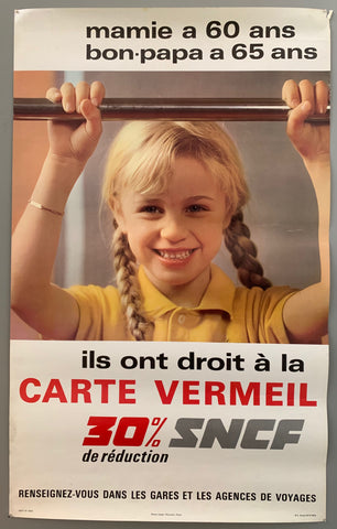 Poster featuring a photograph of a little girl with blonde, braided pigtails