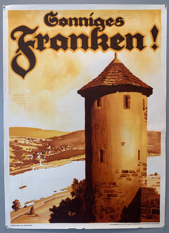 Siegmund von Suchodolski was a German painter, architect and commercial artist. He made many posters for advertisements and travel, amongst children's books and illustrating various publications. This poster shows a Franconian tower overlooking a river with a town in the background. Poster has muted sepia tones.