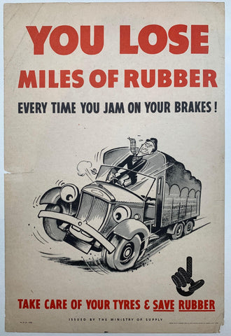 You Lose Miles of Rubber Every Time you Jam on your Brakes! Take care of your Tyres and Save Rubber. - Poster Museum