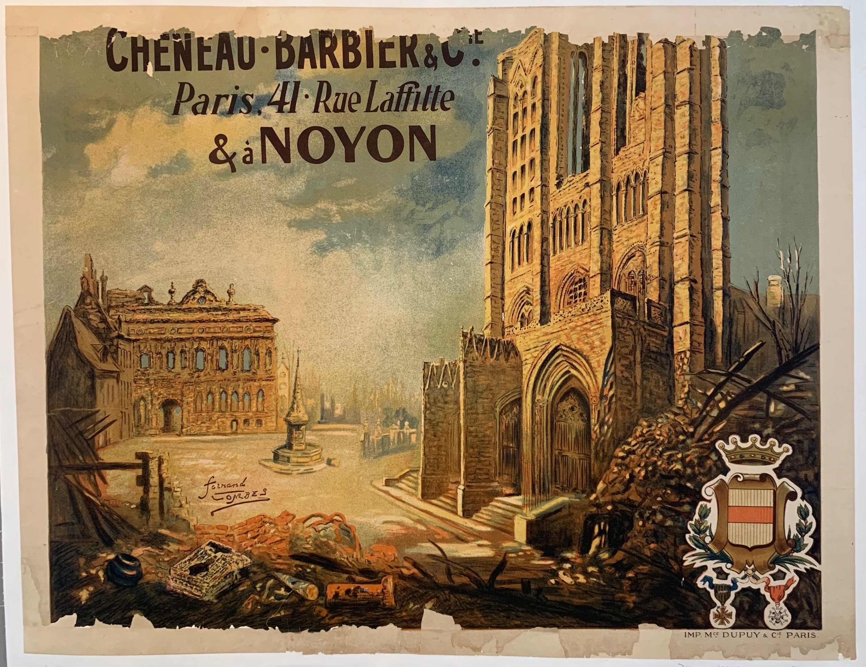 War-Torn Church in Noyon Print