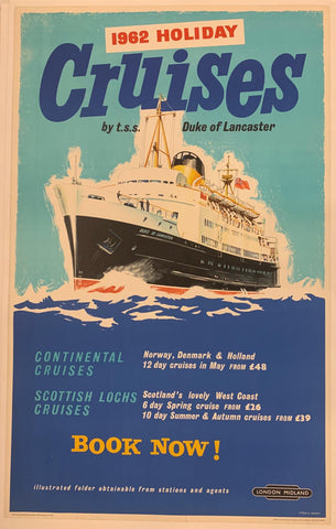 1962 Holiday Cruises Travel Poster