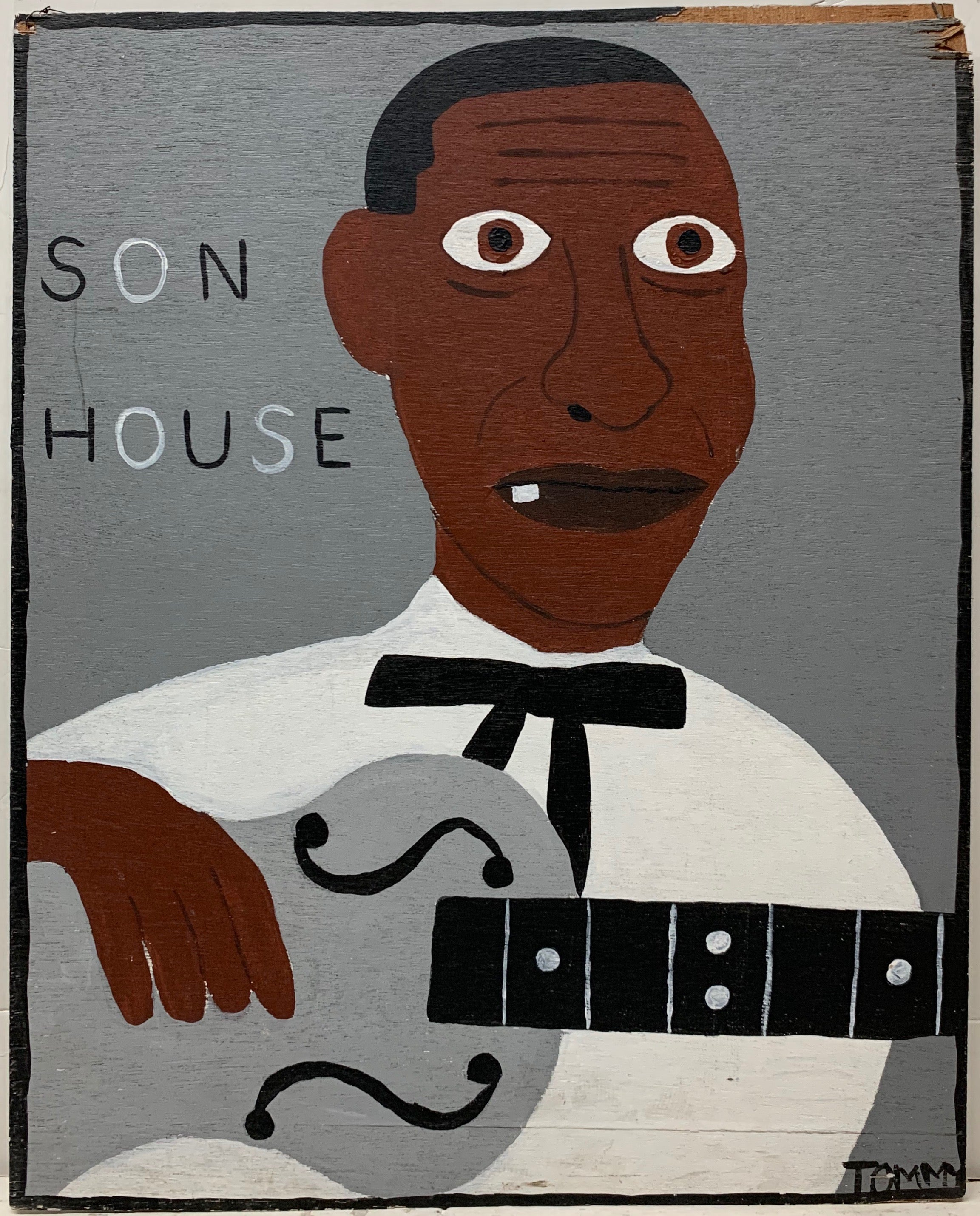 Tommy Cheng portrait of Son House holding a silver guitar.