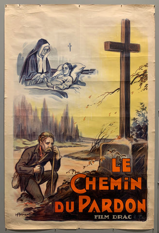 Poster of a man kneeling before a cross.