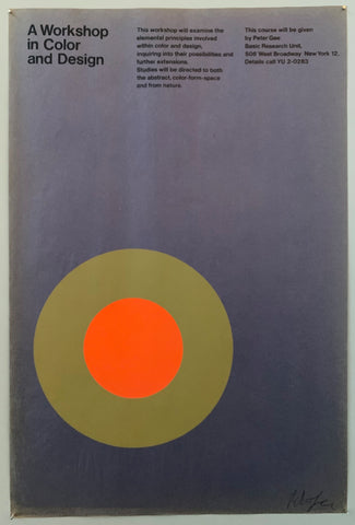 Poster for a design workshop featuring a green and orange target