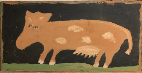 A painting of a brown cow