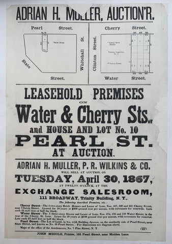 Leasehold Premises on Water & Cherry Sts. and House and Lot No. 10 Pearl St. at Auction