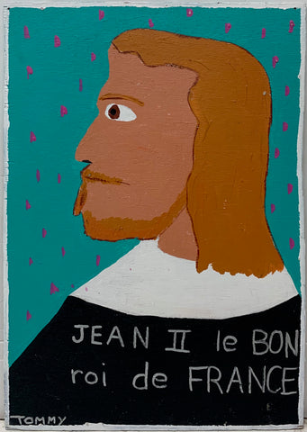 A Tommy Cheng portrait of King Jean II of France in profile against a teal and pink polka-dotted background.