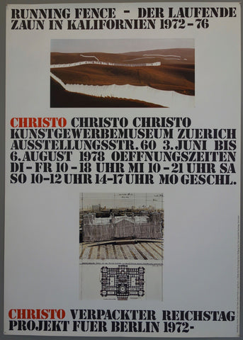 Bold black writing with Christo in red. Small colored photograph of the running fence and a small sketch of Reichstag.