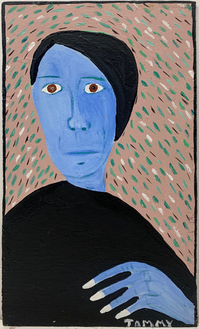 A Tommy Cheng portrait of a melancholy woman with blue skin and a black dress.