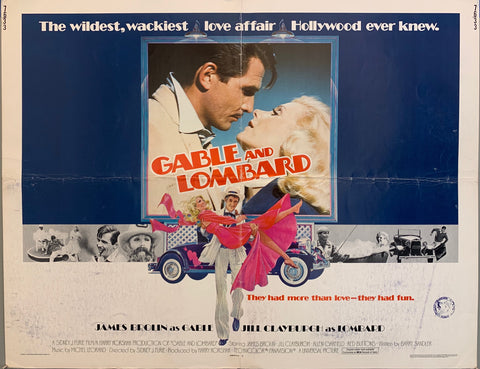 older couple about to kiss, gable carrying lombard in arms in pink dress, blue car, movie poster