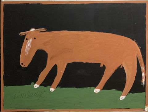 Surprised Cow #34, Jimmie Lee Sudduth Painting