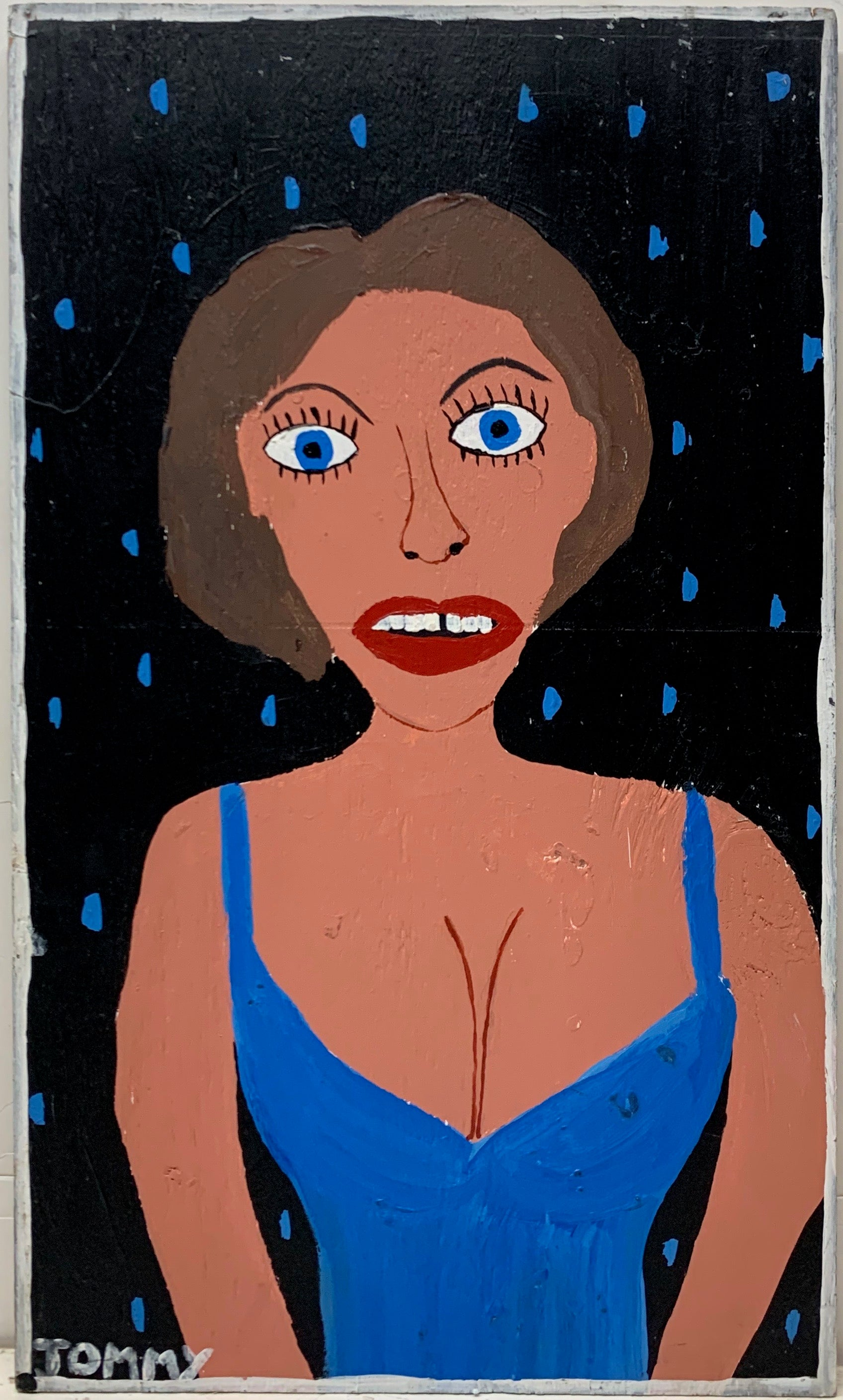 Tommy Cheng portrait of Sophia Loren, wearing a blue dress and a red lip.