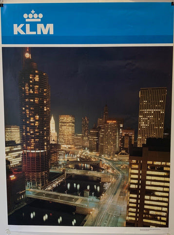 "KLM Airlines Travel ""City at Night"" - Poster Museum"
