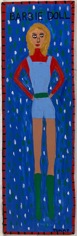 Painting of a blond Barbie doll in a blue romper on top of a red turtleneck. Wearing green knee-high boots matching her green belt.