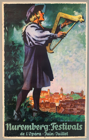 Poster advertising the Nuremberg music festivals taking place June through July. Shown is a man playing a sort of harp and singing with Nuremberg in the background. Artist Jupp Wiertz was born in Aachen in 1888 and studied in Berlin and Leipzig. He later went on to work on publicity for the German Reichsbahn, Zeppelin production art designs, and for Lufthansa.