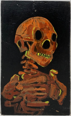 A Tommy Cheng painting of an orange skeleton reflecting yellow light.