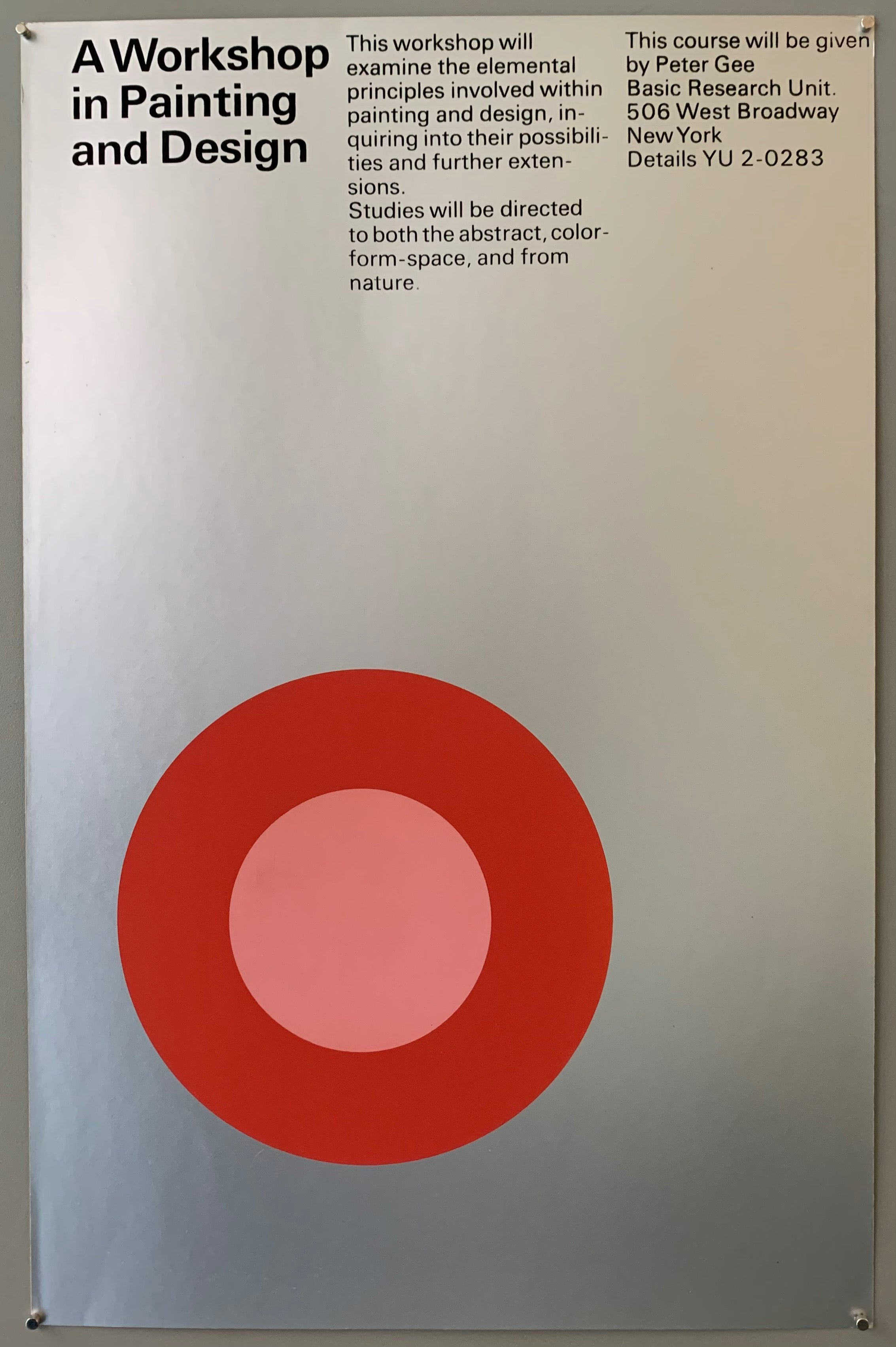 Silver poster with a red and pink target