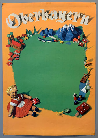 This vintage poster shows a play set including a doll dressed in a traditional German dirndl, surrounding her are models of mountains, rivers, trains, and towns.