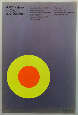 Poster for a design workshop featuring an orange and yellow target